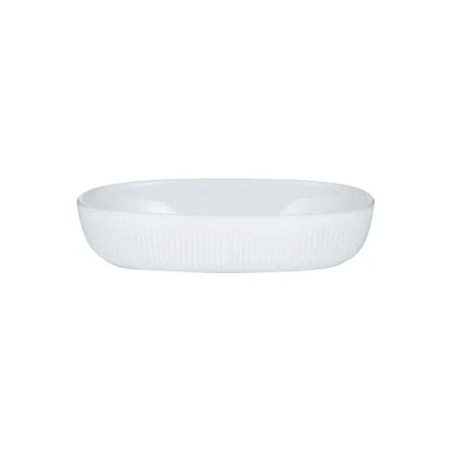 MASON AND CASH LINEAR OVAL PIE DISH WHITE
