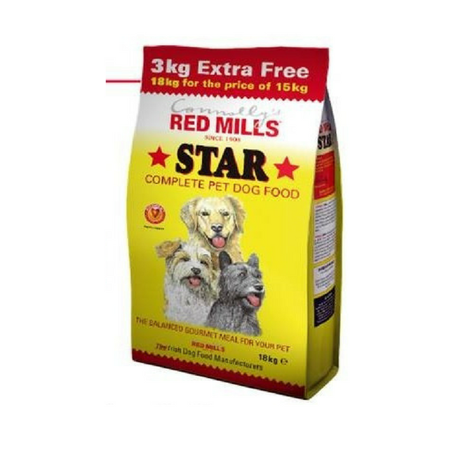 RED MILLS STAR DOG FOOD 3KG EXTRA FREE