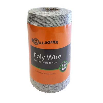 GALLAGHER SUPER 6 WHITE POLYWIRE 200MTS